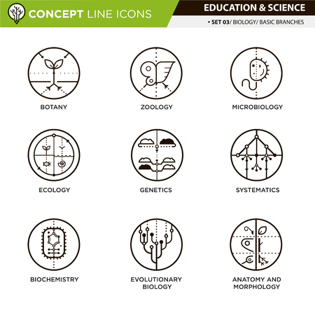 univercity: Brances of biology line icons in white isolated background used for school and university education and document decoration