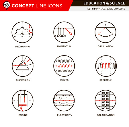 basic law: Physics basic concepts line icons in white isolated background used for school and university education and document decoration Illustration