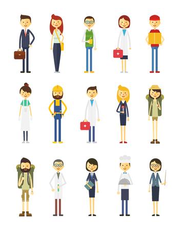 professions: personajes de dibujos animados de diferentes profesiones.