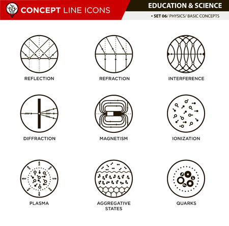 ions: Physic basic concepts line icons in white isolated background used for school and university education and document decoration Illustration