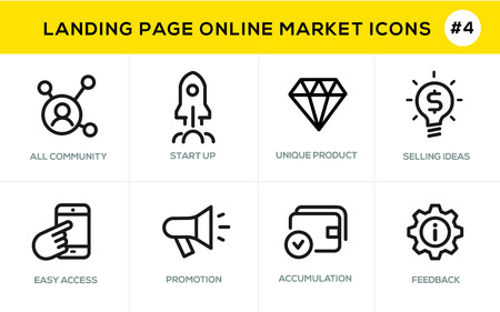 vouchers: Flat line design concept icons online shopping, e-commerce m-commerce services, payment procedure, support, delivery process, online order procedure, website banner and landing page