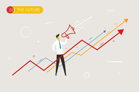 Businessman with megaphone looking to the future. growth charts. Imagens - 60537107
