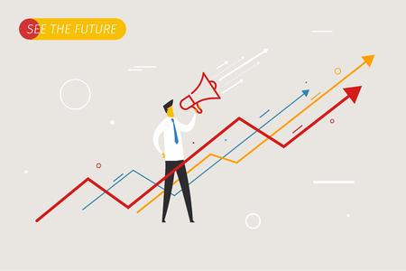 Zakenman met megafoon op zoek naar de toekomst. groei charts.