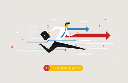 Businessman runs forward to success. growth charts.