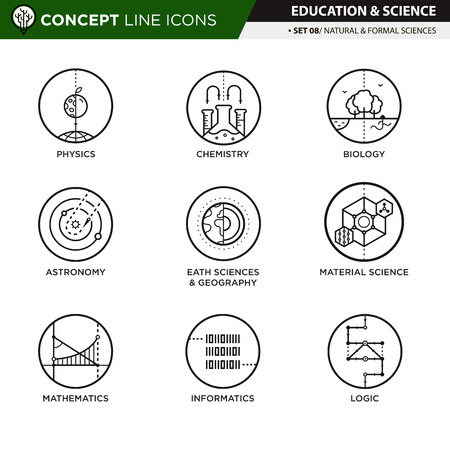sciences: Natural and formal sciences in white isolated background used for school and university education and document decoration, create by vector Illustration