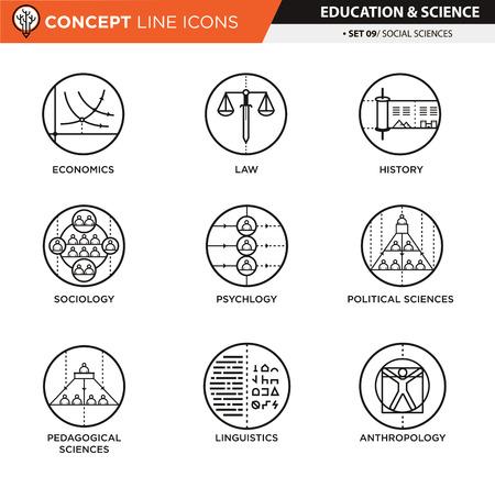 cronologia: el tema de las ciencias sociales en iconos aislados de color blanco utilizado para la ense�anza escolar y universitaria y la decoraci�n documento, crear por el vector Vectores
