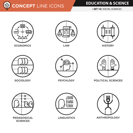 simbols: Social sciences icons used for school and university education and document decoration