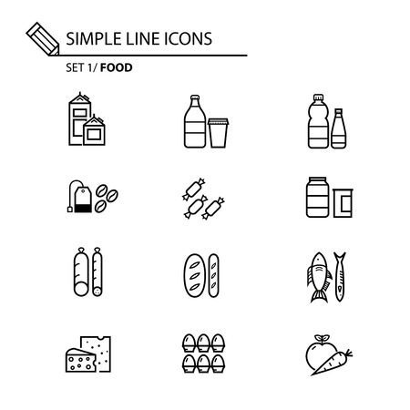 food shop: Food theme line icons in white isolated background used for store and shop infographics
