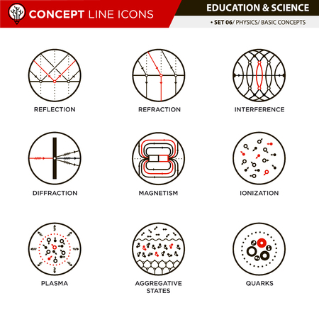 ions: Physic basic concepts line icons in white isolated background used for school and university education and document decoration, create by vector Illustration