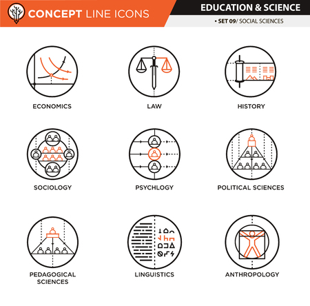 pedagogical: Social sciences theme icons used for school and university education and document decoration, vector