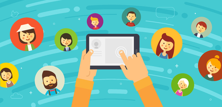 community people: Online chat social network. People all over the world. illustration. Vector eps 10