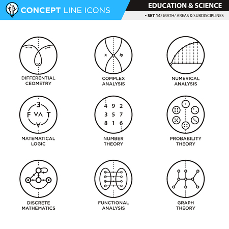 discrete: Math subdisciplines and areas icons in white isolated background used for school and university education Illustration