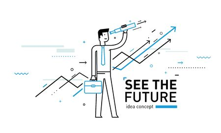 challenger: Businessman with telescope looking to the future. growth charts. Illustration