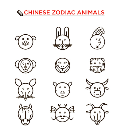 snake calendar: Black round line icon set of Chinese zodiac animals