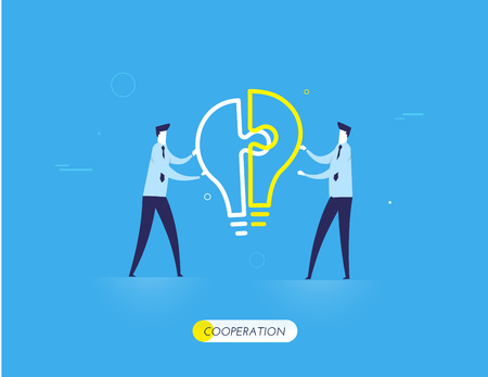 Businessmen connect lamp puzzle. Illustration