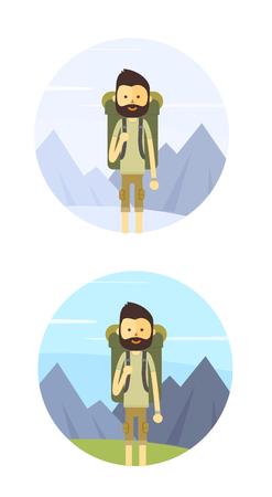 Flat cartoon hiking man. Modern minimalistic flat vector style.