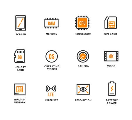 carnero: Componentes de dispositivos móviles Vector Icon Set