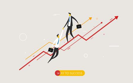 career up: Businessman climbing graph, help.