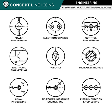 robotic transmission: Concept Line Icons Set 01 Engineering.