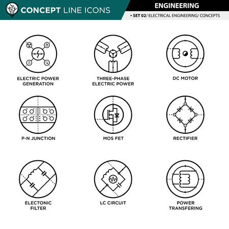 transistor: Concept Line Icons Set 02 Engineering.
