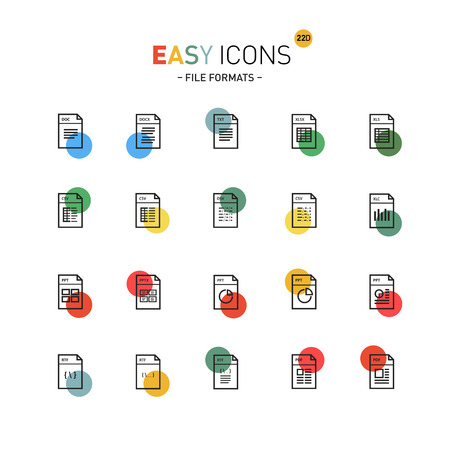 datasheet: Vector thin line flat design icons set for file formats themes Illustration