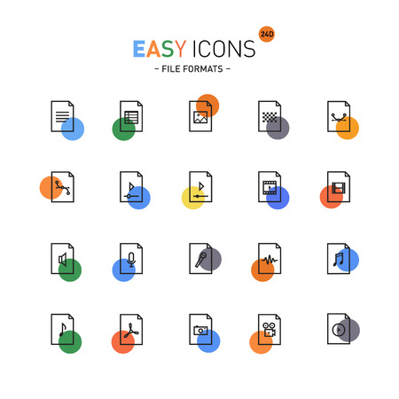 datasheet: Vector thin line flat design icons set for office and media file formats