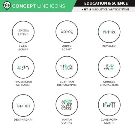 linguistics: Concept Line Icons Set 18 Linguistics