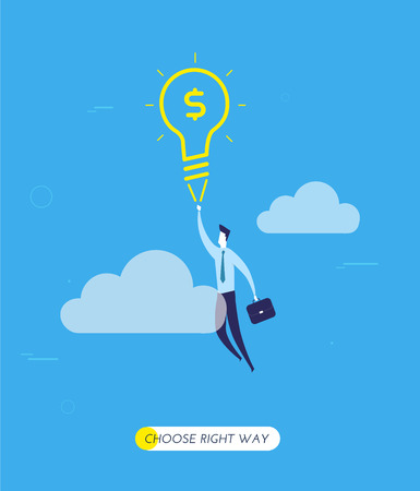 city lights: Businessman flying on a lamp