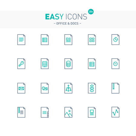 Thin line flat design icons set for office and document themes
