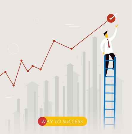ビジネスマンは、階段を登っていきます。成果を上げる。公演スケジュール。ベクトル図 Eps10 ファイル。成功、成長率  イラスト・ベクター素材