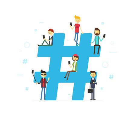 Hashtag concept illustratie van jonge mensen met behulp van mobiele tablet en smartphone Stockfoto