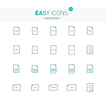 Vector thin line flat design icons set for office and document themes