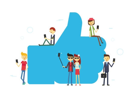 Like concept illustration of young people using mobile tablet and smartphone for sending posts and sharing them in social media. Flat vector hashtag big symbol with guys and women follow the trend Illustration