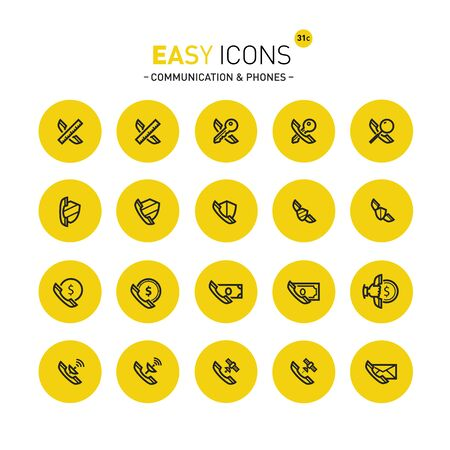 Thin line flat design icons set for contact theme.