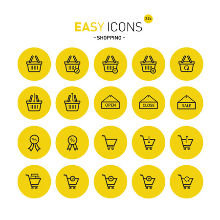 Vector thin line flat design icons set for shop theme Illustration