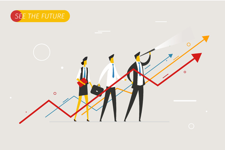 Businessman with telescope looking to the future. Illustration