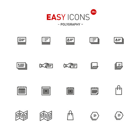 Polygraphy production icon set illustration isolated on white