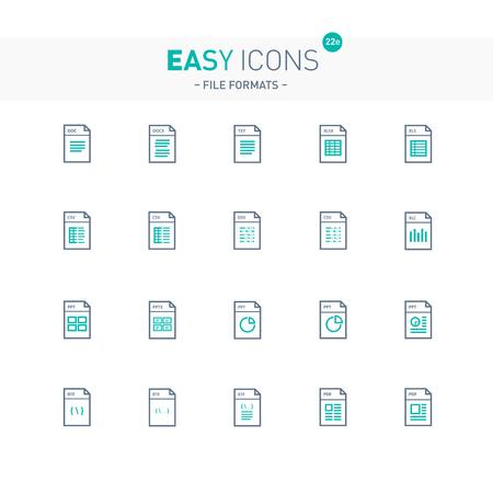 Thin line flat design icons.