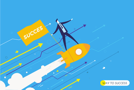 businessman is flying on a rocket looking to the future. growth charts. Vector illustration Eps10 file. Success, growth rates
