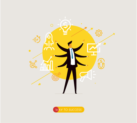 Businessman development startup icons. Vector illustration Eps10 file. Success rates