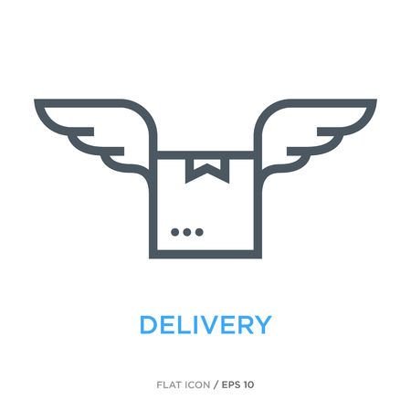Package with wings as delivery symbol.