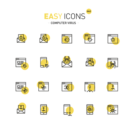 Vector thin line flat design icons set for computer security theme Vettoriali