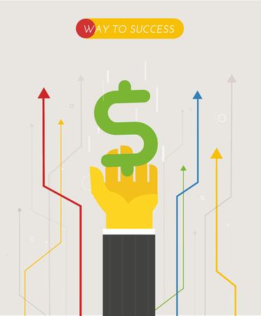 Businessman pulls his hand towards the dollar. Illustration