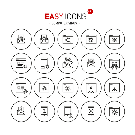 Vector thin line flat design icons set for computer viruses and bugs theme Vettoriali