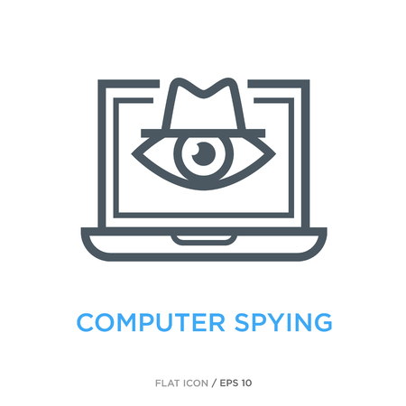Computer spying line flat icon illustration on white background.