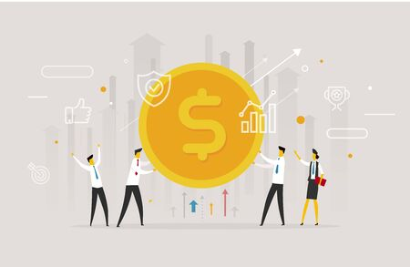 Corporate man and woman holding dollar coin illustration