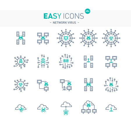 Easy icons network viruses in turquoise color. Illustration