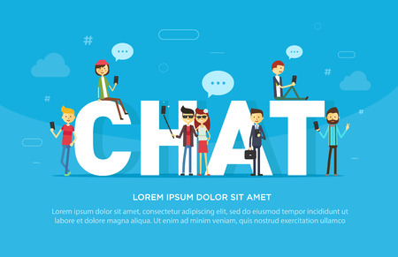 Chat concept illustration of young people using mobile gadgets