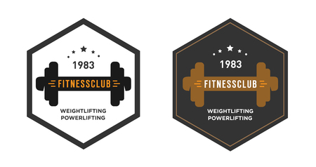 Logo template with the dumbbell, gym emblem, label, cover