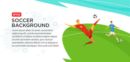 Soccer players. Fool color vector illustration in flat style isolated on white background. Poster banner print. Stock Illustratie